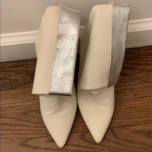 Oro White w silver rollover boots size 36